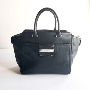 Milly | Black Leather Messenger Bag Crossbody